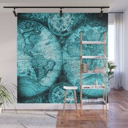 Turquoise Antique World Map Wall Mural