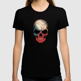 Dark Skull with Flag of Czech Republic T-shirt