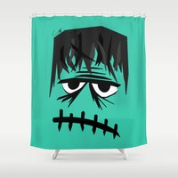 frankenstein Shower Curtains featuring Frankenstein by geojey