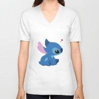 stitch V-neck T-shirts featuring Stitch by Stapanda