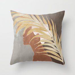 Woman with Golden Palm Leaf Throw Pillow