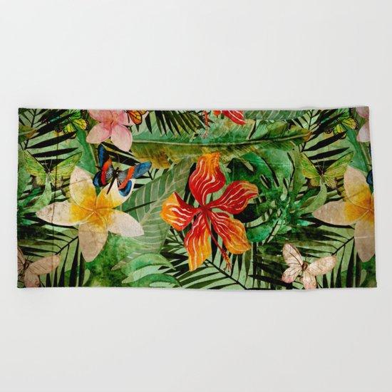 Tropical Vintage Exotic Jungle Flower Flowers - Floral watercolor pattern Beach Towel