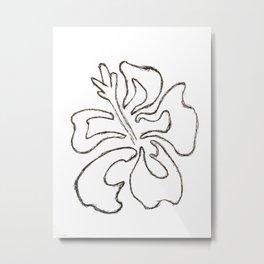 Hibiscus Flower Drawing Metal Print