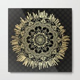'Passage To Shamballa' Black & Gold Mandala Metal Print