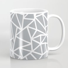Abstract Outline Thick White on Grey Mug