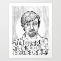 flight of the conchords Art Prints featuring Murray. [Flight of the Conchords] by Jillian Kaye