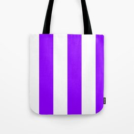 Wide Vertical Stripes - White and Violet Tote Bag