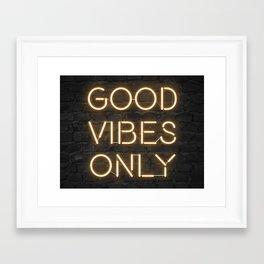 Neon Good Vibes - Orange Framed Art Print