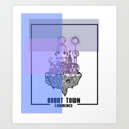 Robot Town color Art Print