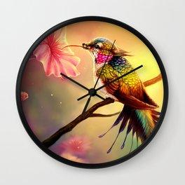 Gorgeous Colorful Fairytale Hummingbird Creature Licking Blossom Juice UHD Wall Clock