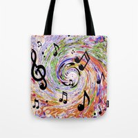music notes Tote Bags featuring Music Notes by gretzky