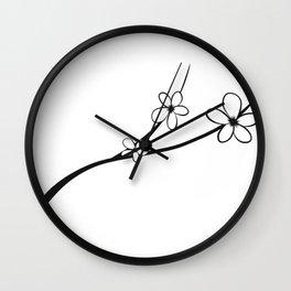 Black & White Noir Japanese Cherry Blossom Flower Art Wall Clock