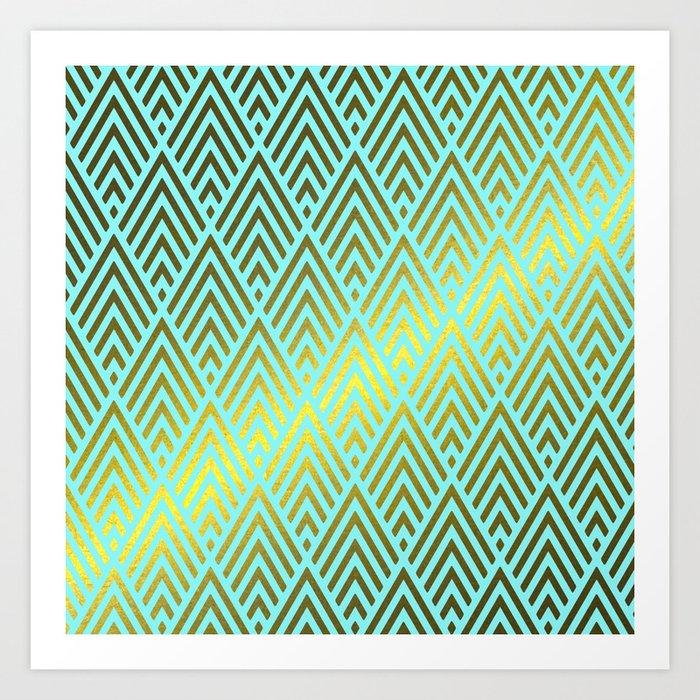 Gold foil triangles on aqua Art Print
