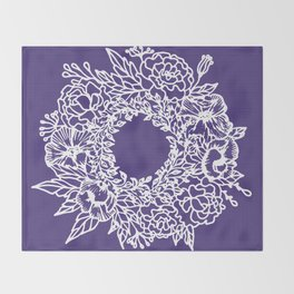 White Flowery Linocut Wreath On Checked UltraViolet Throw Blanket