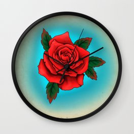 Red Rose Tattoo Flash Wall Clock