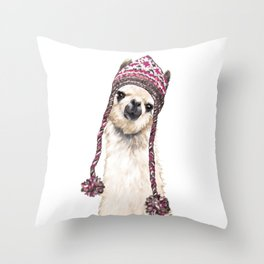 The Llama with Hat Throw Pillow