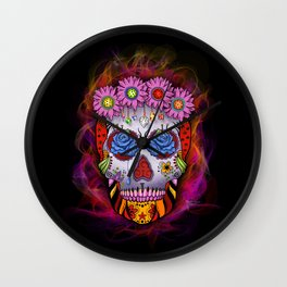Flowered Sugar Skull With Flames Wall Clock
