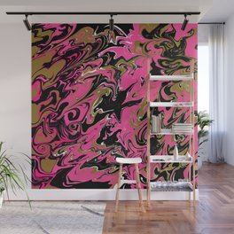 Pink Black Marble with Gold Accent Wall Mural