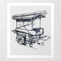 japan wood cart Art Print