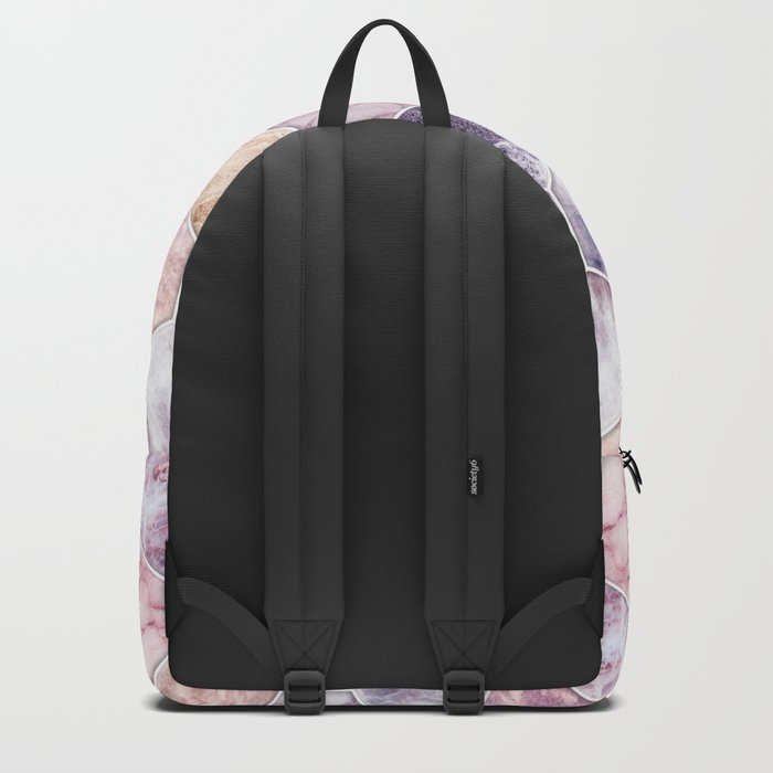 Rose Quartz and Amethyst Stone and Marble Hexagon Tiles Backpack