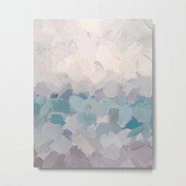 Teal Aqua Purple Lavender Abstract Wall Art Ocean Clouds Painting Print Metal Print