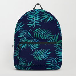 Watercolor Palm Leaves on Navy Backpack