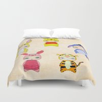 piglet Duvet Covers featuring A Boy - Winnie and friends by Christophe Chiozzi