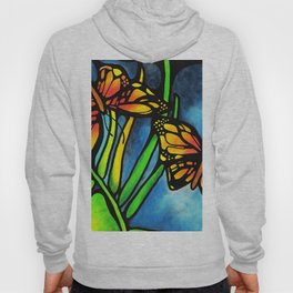 Beautiful Monarch Butterflies Fluttering Over Palm Fronds by annmariescreations Hoody