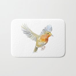 Robin in Flight Watercolor Bath Mat
