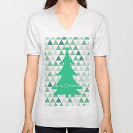Merry Christmas Tree Pattern Unisex V-Neck
