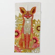 garden fox linen Beach Towel