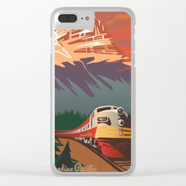 retro travel train poster Clear iPhone Case