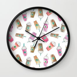 Coffee Crazy Toss in White Cream Wall Clock