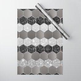 Silver Hexagon Glitter Glam #1 #geometric #decor #art #society6 Wrapping Paper