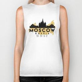 MOSCOW RUSSIA SILHOUETTE SKYLINE MAP ART Biker Tank