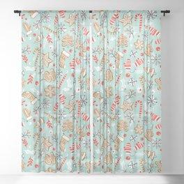 Gingerbread Dreams - Aqua Sheer Curtain