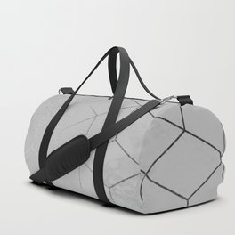 Silver Platinum Geometric White Mable Cubes Duffle Bag