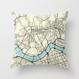 Seoul South Korea City Map Throw Pillow