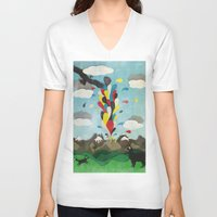 chile V-neck T-shirts featuring Sur de Chile by i am nito