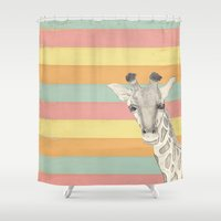 giraffe Shower Curtains featuring Giraffe by Tammy Kushnir