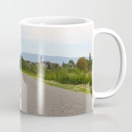 Panoramic of road to a small french village Coffee Mug