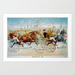 Warming Up Vintage Horse Racing 1893 Art Print