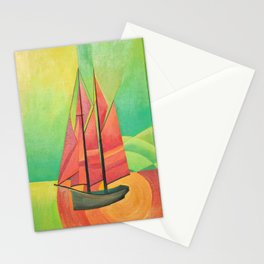 Cubist Abstract Sailing Boat Stationery Cards