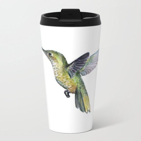 Hummingbird Watercolor Bird Animal Metal Travel Mug