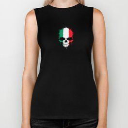 Flag of Italy on a Chaotic Splatter Skull Biker Tank