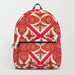 Red orange watercolor traditional italian motif pattern Backpack
