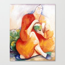 Woman with green coconut Canvas Print