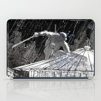 ninja turtle iPad Cases featuring Black and White Ninja Turtle Leonardo by James Tuer