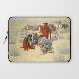 """Western Art """"A Map in the Sand"""" by Frederic Remington Laptop Sleeve"""