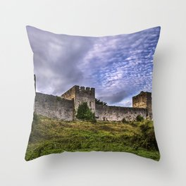 Chepstow Castle Walls Throw Pillow